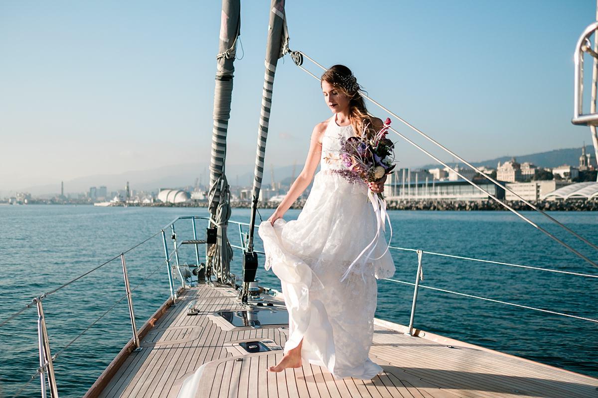 Elopement on a sailboat in Portofino
