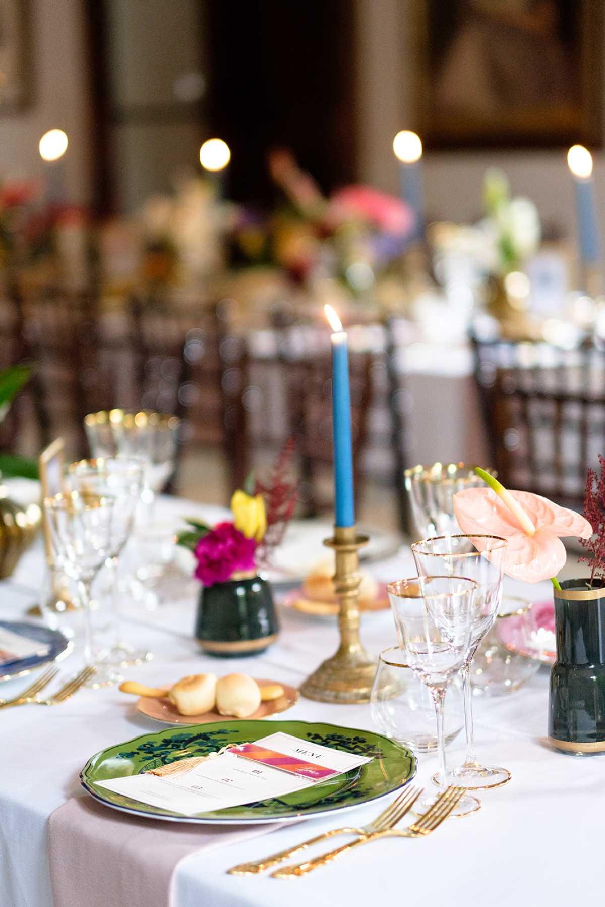 Dettagli allestimento del tavolo per matrimonio a Palazzo Vecchia a Poncarale
